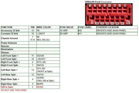 solved  ford excursion altec stereo wire color codes