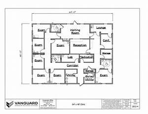 64' x 48' Clinic Building Floor Plan Permanent Modular