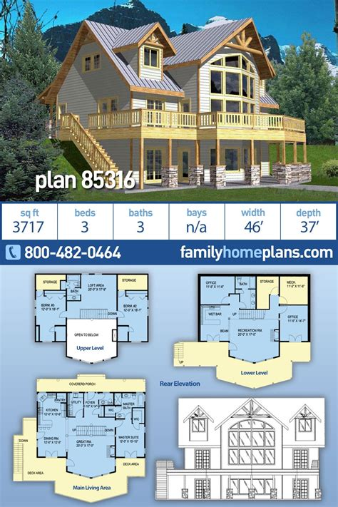 Coastal Style House Plan 85316 with 3 Bed 3 Bath in 2020
