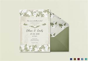 vintage wedding invitation card template in psd word With wedding invitation size illustrator