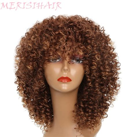 Merisi Hair Short Curly Brown Blonde Gray Color Wigs For