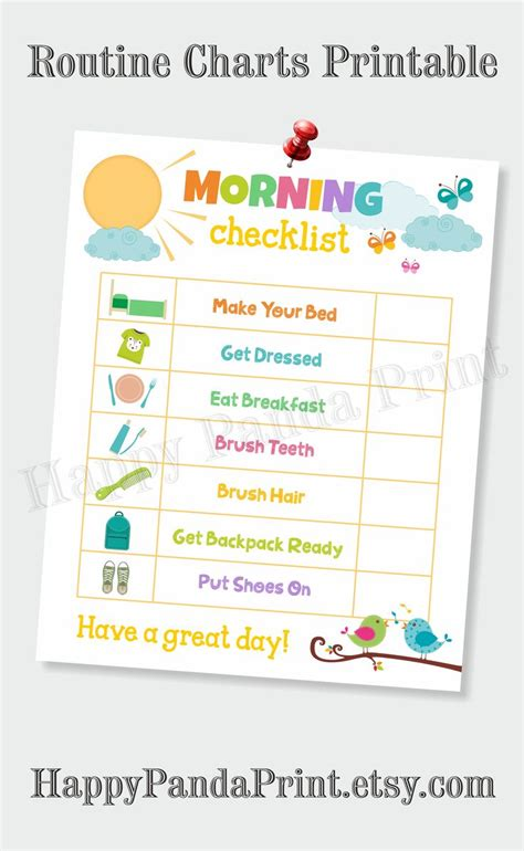 morning checklist printable morning routine checklist