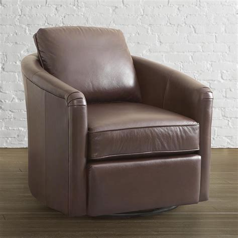 traditional leather tub swivel glider chair