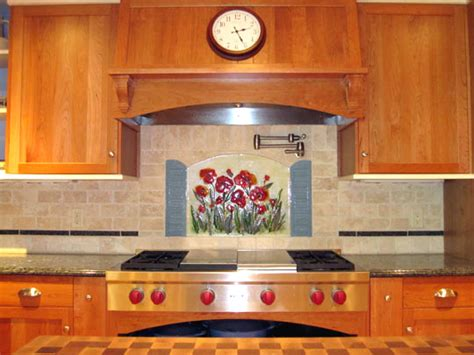 floral kitchen backsplash poppies  shutters