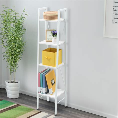 tier white ladder shelf bookshelf living room bathroom