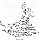 Flood Coloring Cartoon Outline Roof Survivor Water Clipart Drawing Sittin Leishman Ron Template Pages Sketch Outlined sketch template