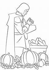 Coloring Pages Praying Pilgrim Thanksgiving Printable Pilgrims Harvest Rich Thanks Paper Raskrasil Categories sketch template