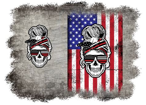 1 png files 3300x3300 px, ( 11x11 inch ) 300 dpi with transparent background; Red White and Blue American Flag Messy Bun Skull Messy ...