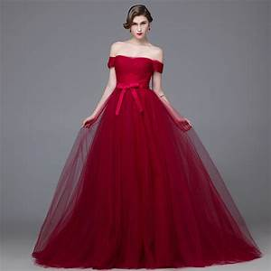 Tulle Ball Gown Off The Shoulder Wine Prom Dresses 2016