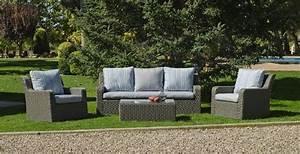 Salon De Jardin Gris Clair : salon de jardin r sine lua 5 places avec coussins gris clair meubles de jardin ~ Teatrodelosmanantiales.com Idées de Décoration
