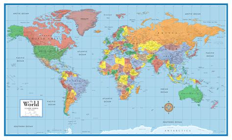 classic elite framed world wall map poster mural