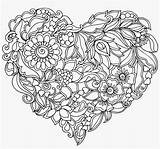 Mandala Heart Pattern Royalty Shaped Seekpng Pages Colouring Transprent Library sketch template