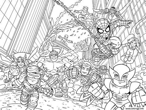 coloriage avengers mini iron man spiderman captain america