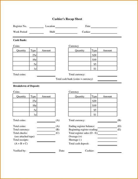 register balance sheet closing cash register sheet and balance sheet for cash