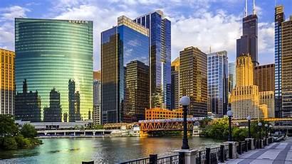 Chicago Usa Illinois Skyscrapers River Bridge Widescreen