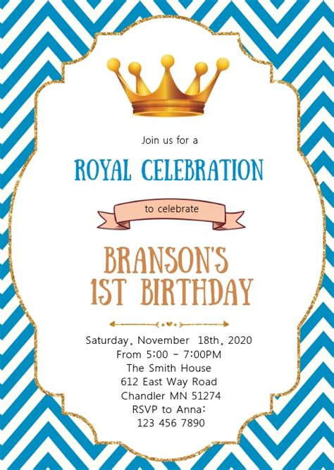 Prince birthday party invitation Template PosterMyWall