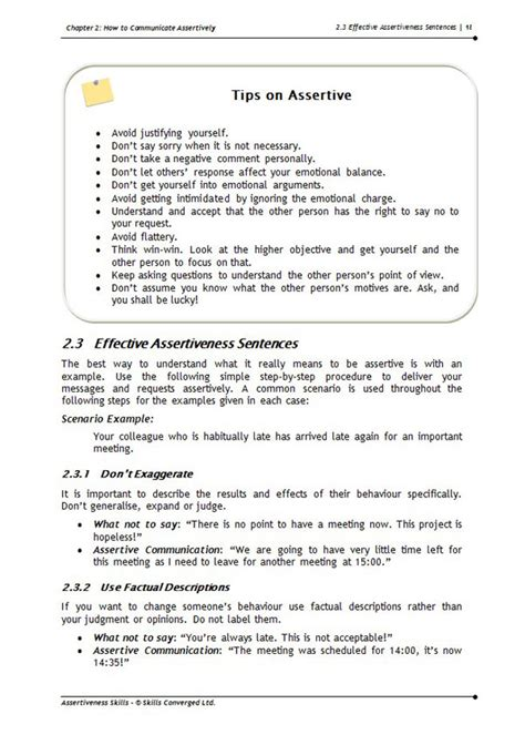 assertiveness skills training  materials skills