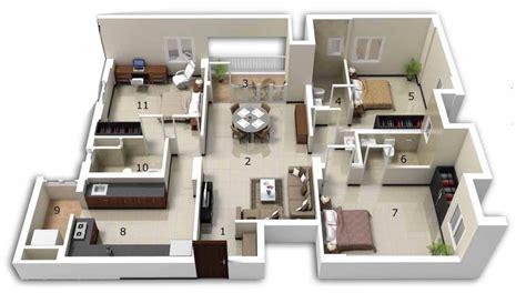 3 Bhk Home Design : 25 Three Bedroom House/apartment Floor Plans