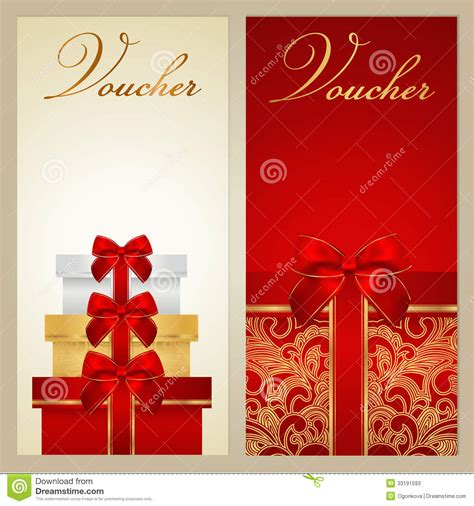 voucher gift certificate coupon boxes bow stock