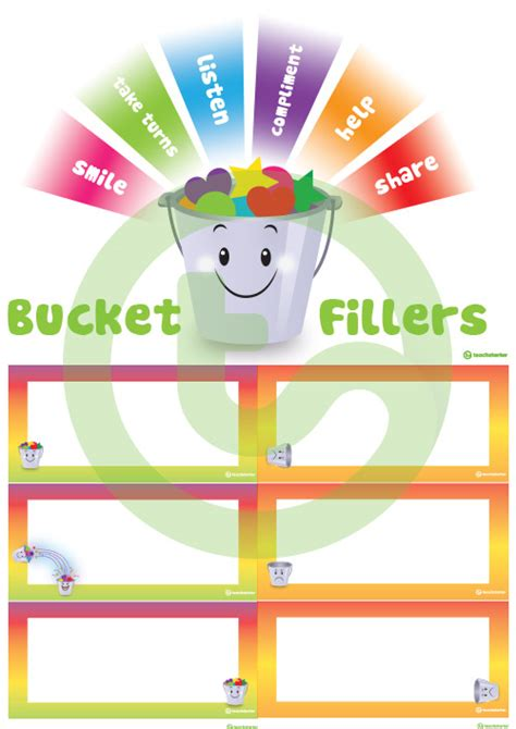 bright bucket fillers word wall template  teaching