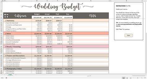 wedding budget template excel printable wedding budget excel template savvy spreadsheets