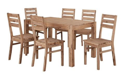 solid acacia wooden dining table and 6 chairs homegenies
