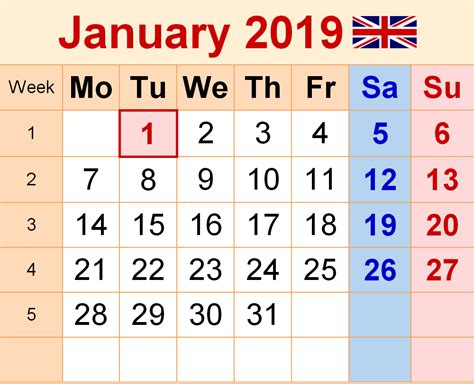 January Calendar 2019 With Holidays Download
