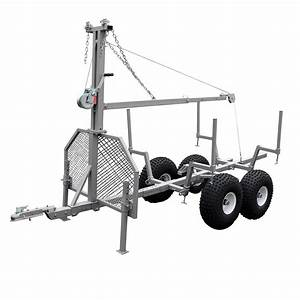 Tow Behind Logging Timber Trailer With Manual Crane Winch