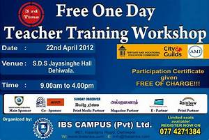 Free Teacher Training Workshop in Srilanka « SynergyY