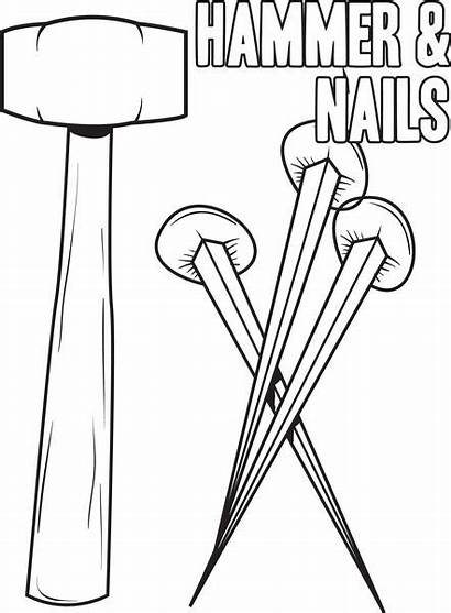 Coloring Hammer Nails Crucifixion Printable Fingernails Bible