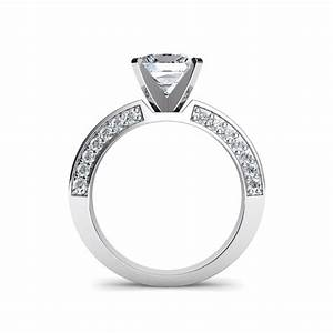 3 sided pave princess cut diamond engagement ring for Pave wedding rings