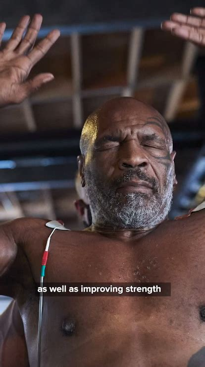 Mike Tyson undergoing electric shock muscle therapy to