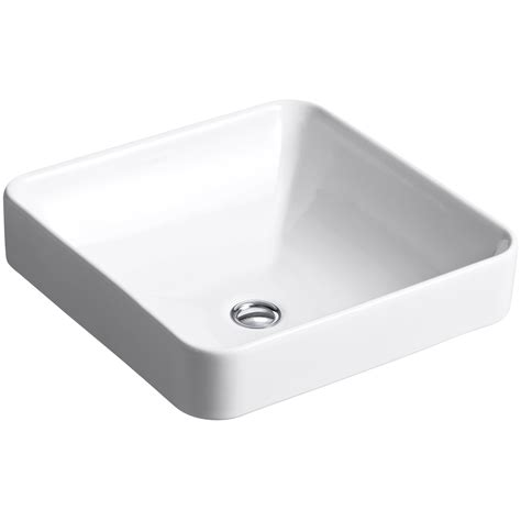 kohler vox square vessel above counter bathroom sink