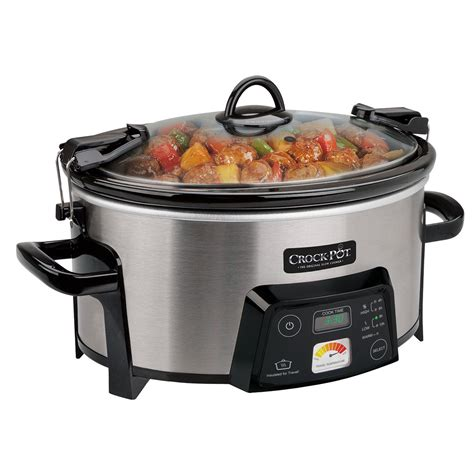 crock pot cooker crock pot 174 cook carry digital slow cooker with heat saver stoneware silver at crock pot com