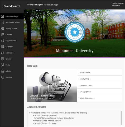 blackboard help desk faqs about institution page blackboard help