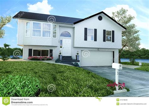 maison en bois am 233 ricaine typique avec le jardin les arbres et une rivi 232 re image libre de