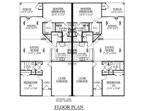 level duplex craftsman style floor plans duplex plan