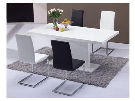 table cuisine blanc table à manger soliste 6 couverts mdf blanc laqué