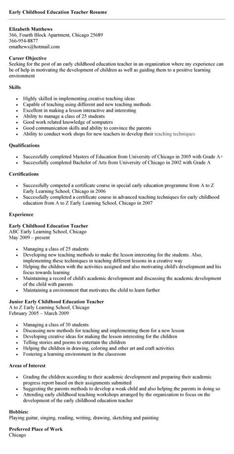 early childhood education sample resume early childhood