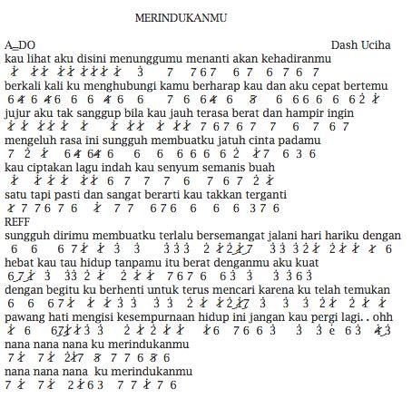 not angka lagu ha ari lasso not angka pianika lagu dash uciha merindukanmu