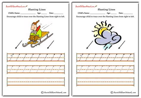 slanting lines worksheets   left aussie