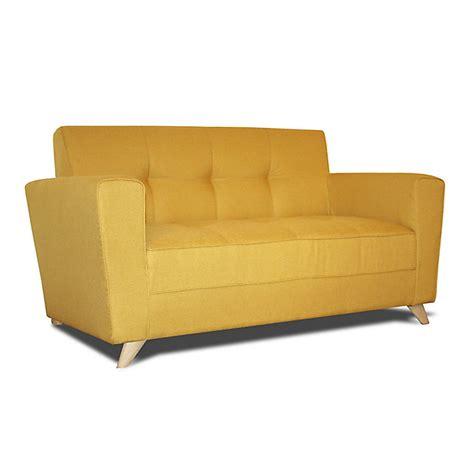 canap 2 places fixe canapé 2 places fixe en tissu jaune canapé