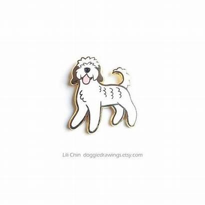 Doodle Poodle Dog Mix Perros Esmalte Enamel