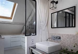 Salle De Bain Style Atelier : s paration baie vitr e verri re m tal noir ~ Teatrodelosmanantiales.com Idées de Décoration
