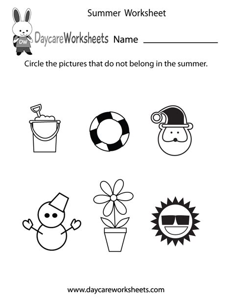 preschool summer worksheet