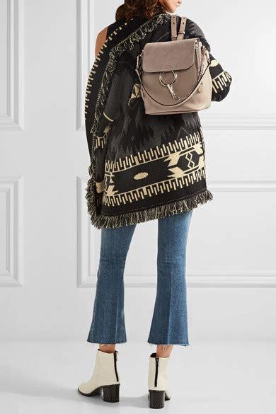 chloe faye medium leather  suede backpack net