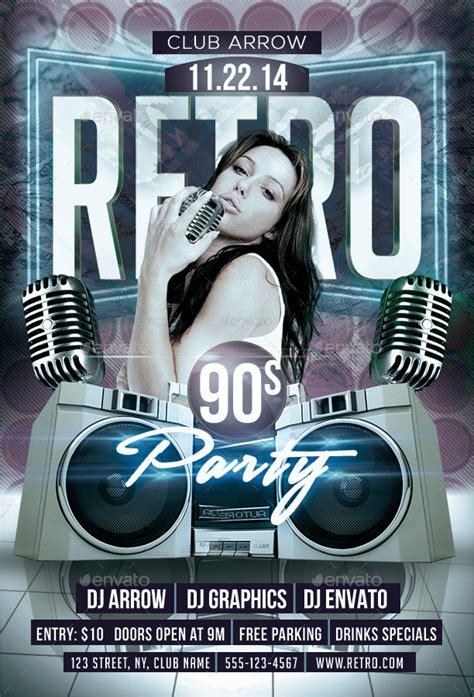 retro  party flyer template  arrow graphicriver