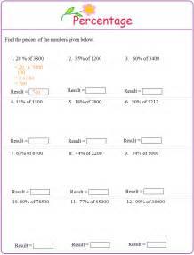 subtraction math problems worksheet on percentage