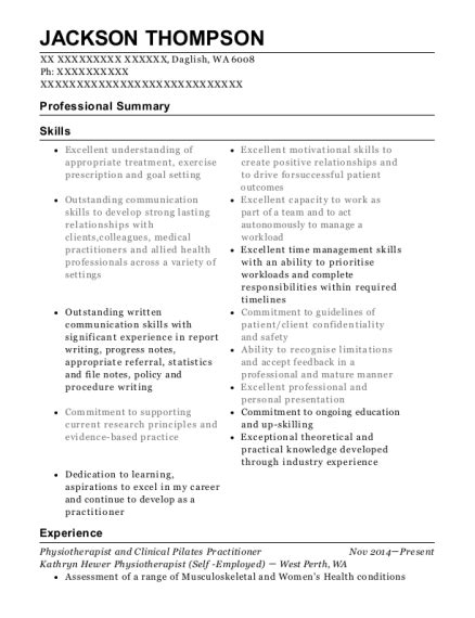middle park physiotherapy physiotherapist resume sample