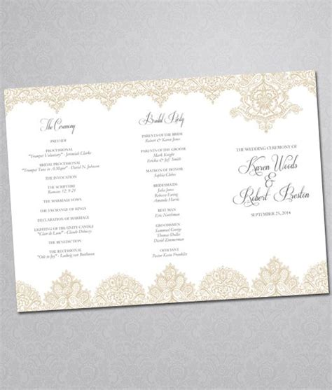 Tri Fold Event Program Template by Diy Pearls And Lace Wedding Program Tri Fold Template